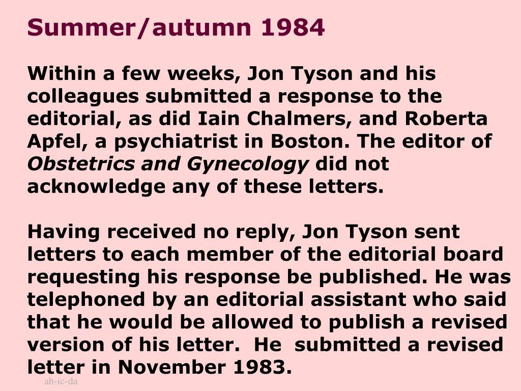 Summer/autumn 1984