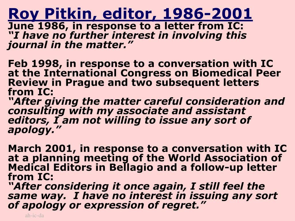 Roy Pitkin, editor, 1986-2001