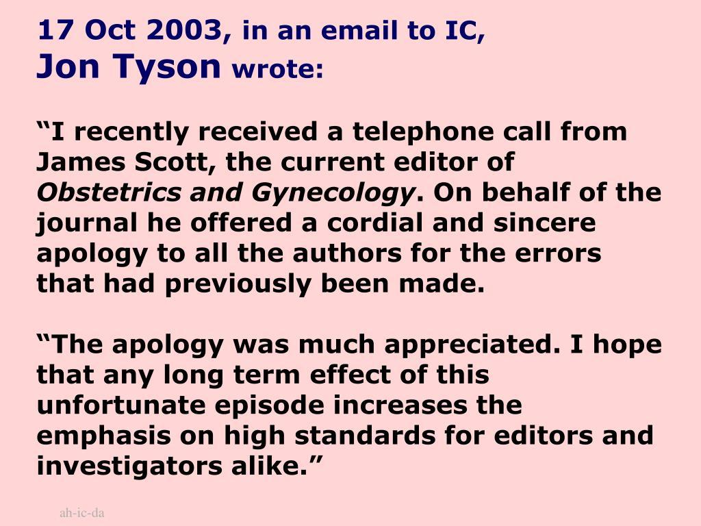 17 Oct 2003,