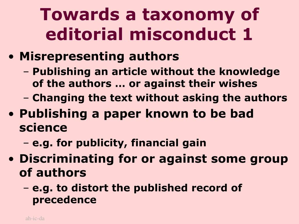 Towards a taxonomy of editorial misconduct 1