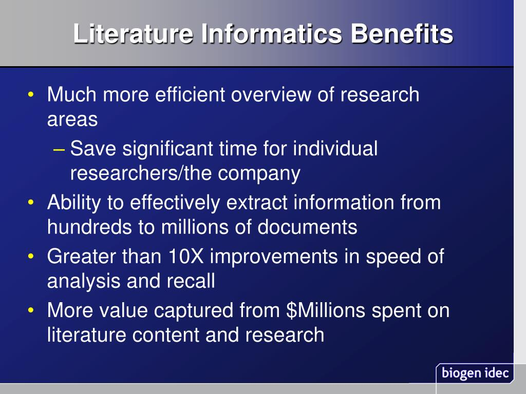 Literature Informatics Benefits
