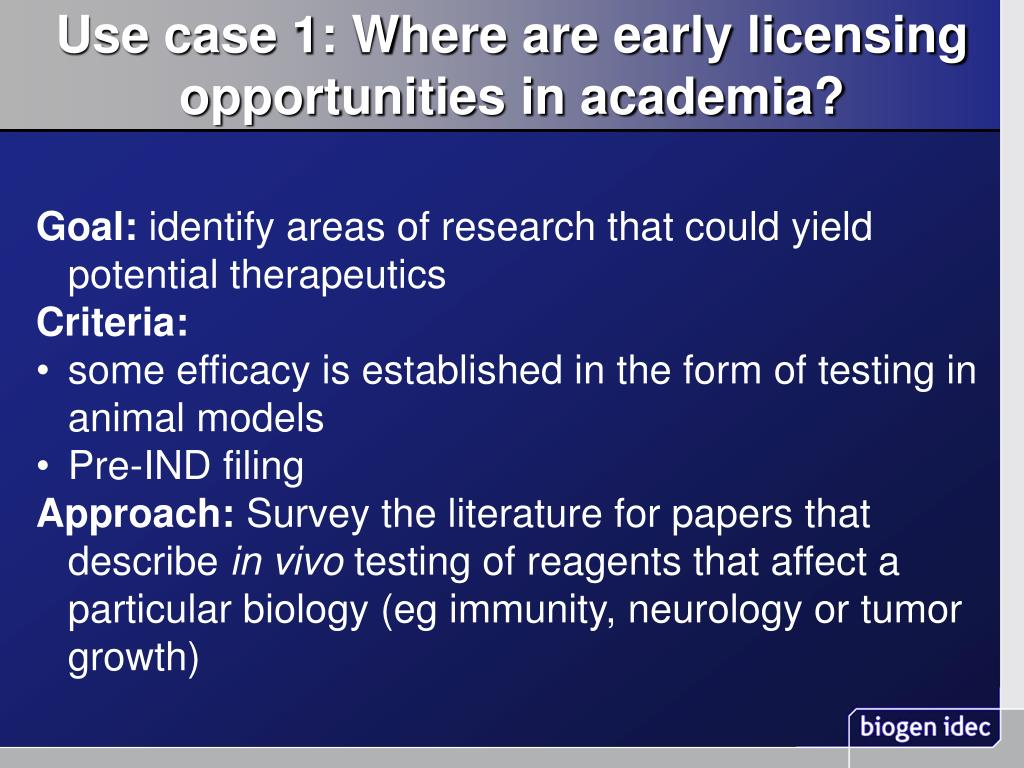 Use case 1: Where are early licensing opportunities in academia?