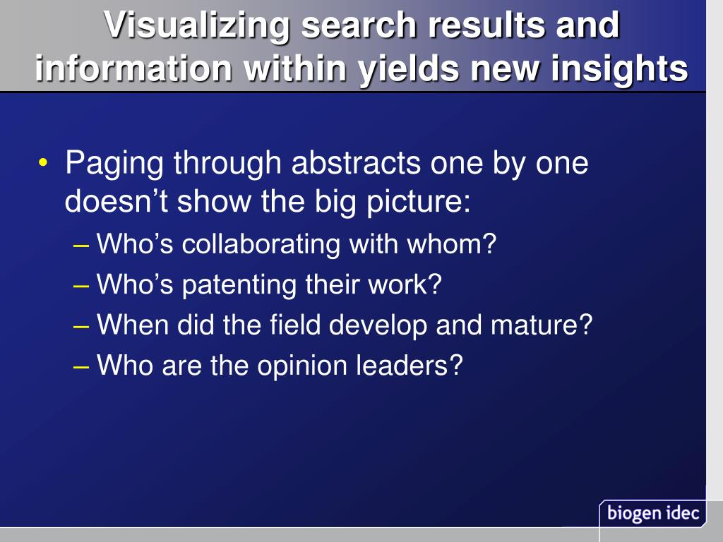 Visualizing search results and information within yields new insights