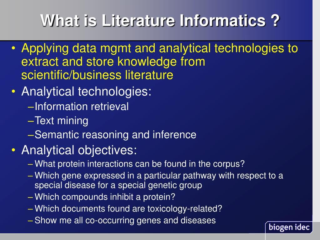 What is Literature Informatics ?