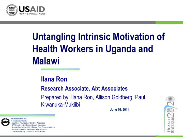 PPT Untangling Intrinsic Motivation Of Health Workers In