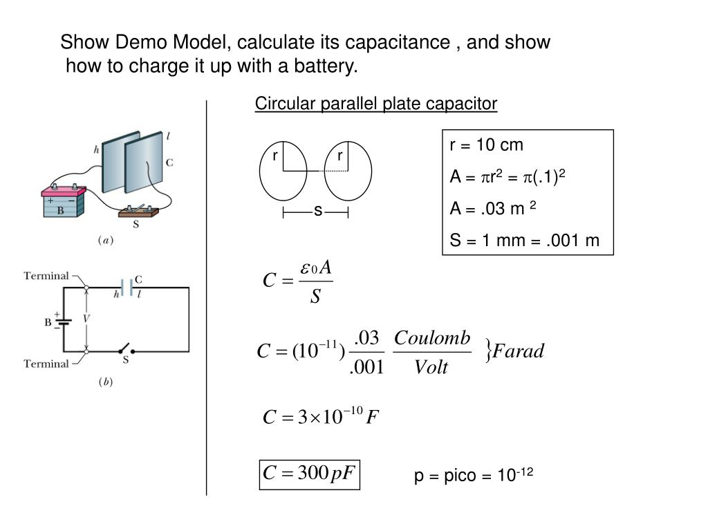 Show Demo Model, calculate its capacitance , and show