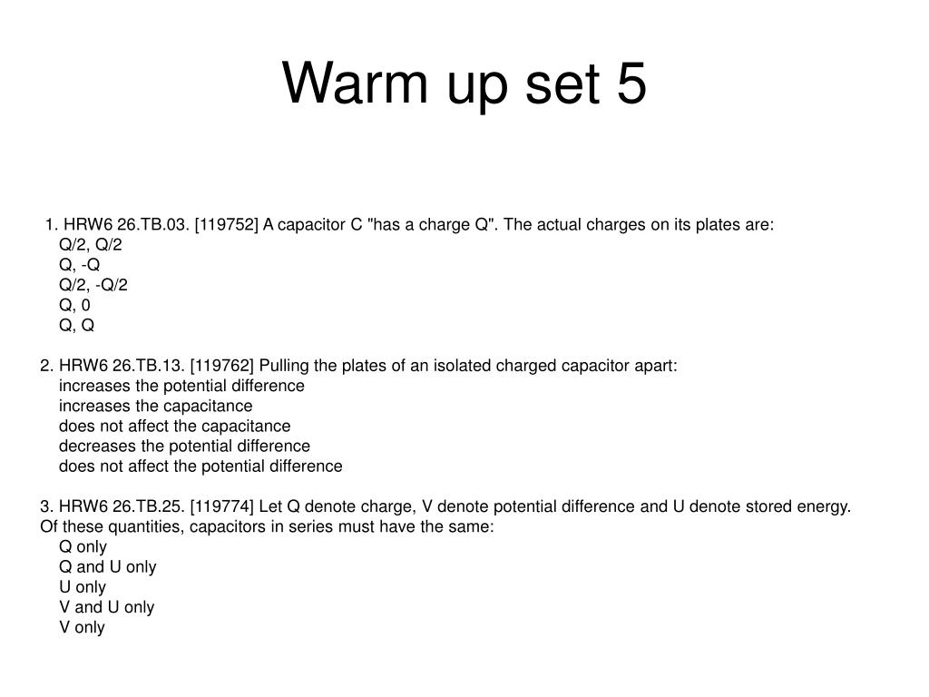 Warm up set 5
