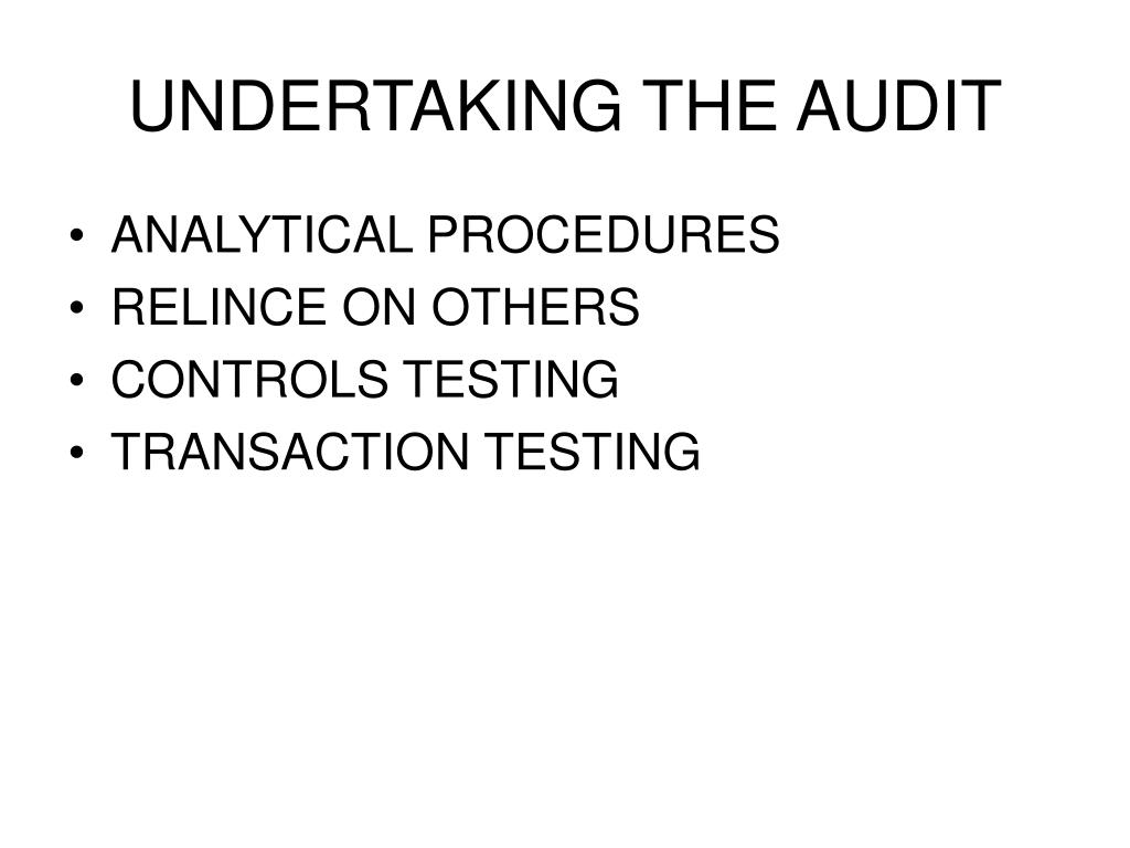 UNDERTAKING THE AUDIT