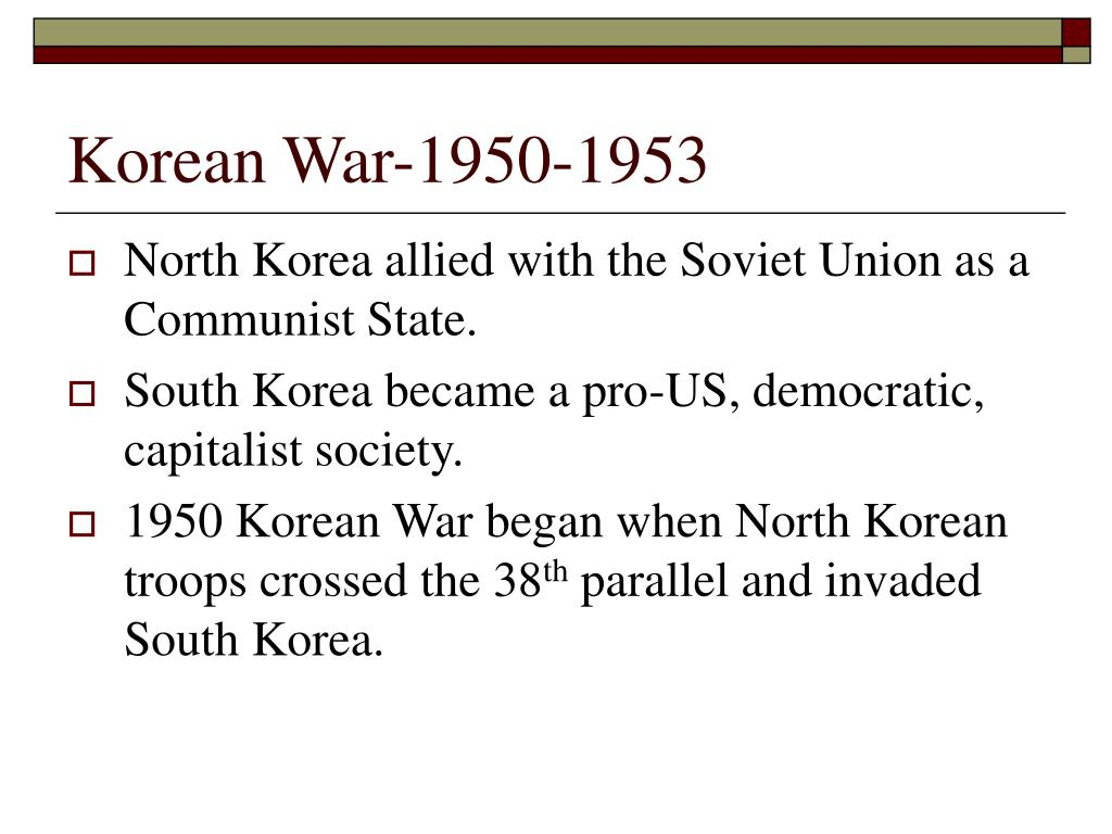 a description of the korean war in 1950 1953 south korea as invaded by north korea General dwight eisenhower defeats illinois senator adlai stevenson to become president of the united states during his campaign, eisenhower said he would end the war in korea july 27, 1953: north korea and south korea agree to a truce north korea and south korea sign an agreement to stop fighting.