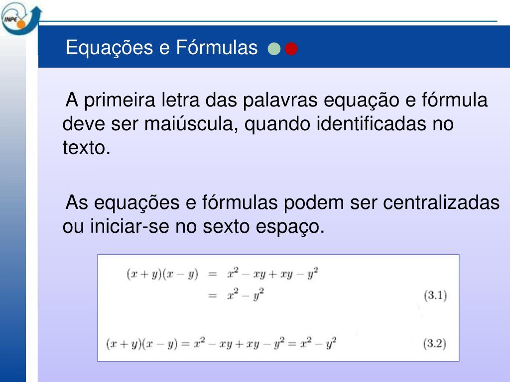 Equações e Fórmulas