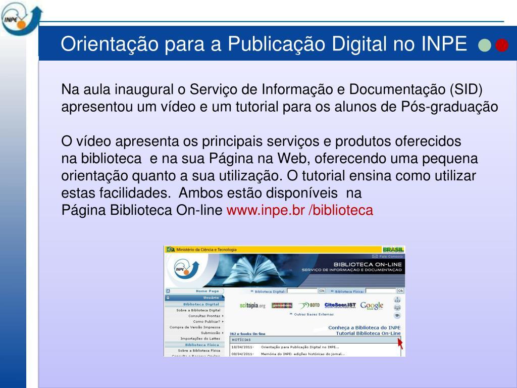 Orientação para a Publicação Digital no INPE