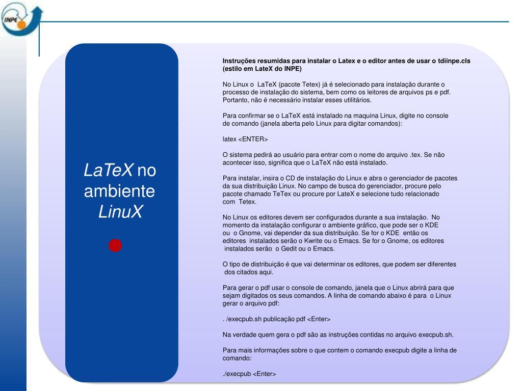 Instruções resumidas para instalar o Latex e o editor antes de usar o
