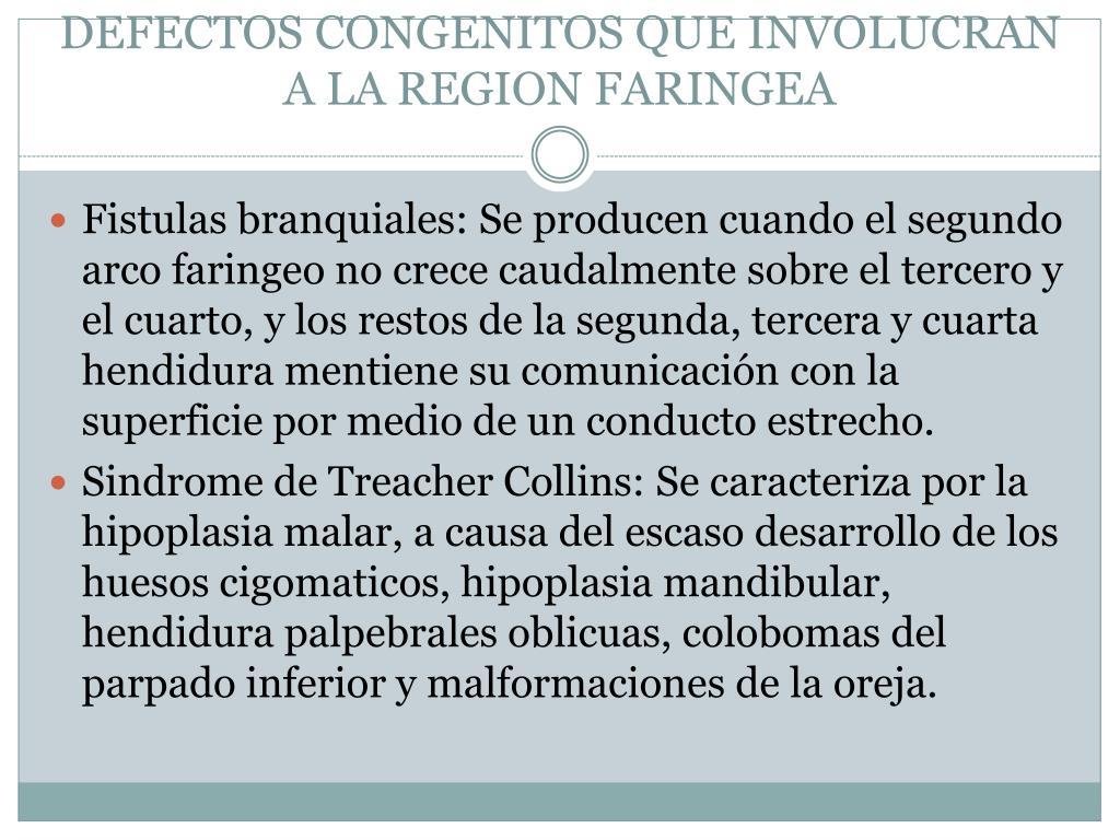 DEFECTOS CONGENITOS QUE INVOLUCRAN A LA REGION FARINGEA