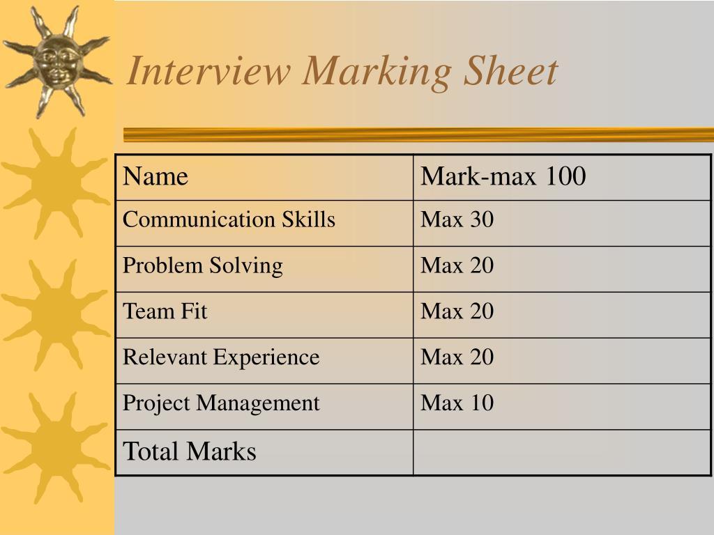 Interview Marking Sheet