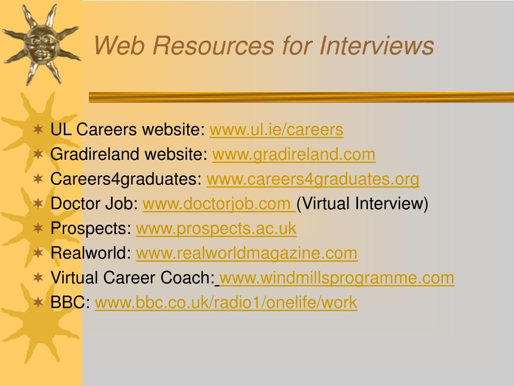 Web Resources for Interviews