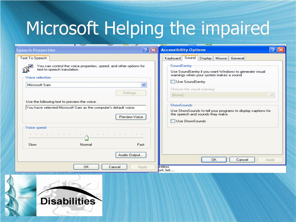 Microsoft Helping the impaired