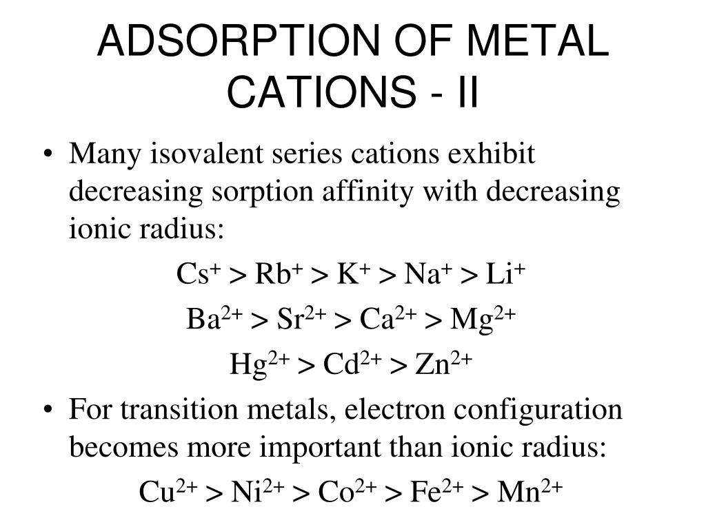 ADSORPTION OF METAL CATIONS - II