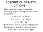 adsorption of metal cations ii