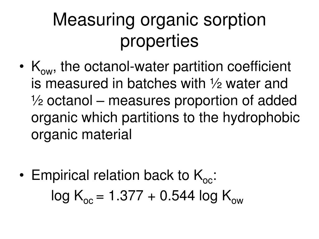 Measuring organic sorption properties
