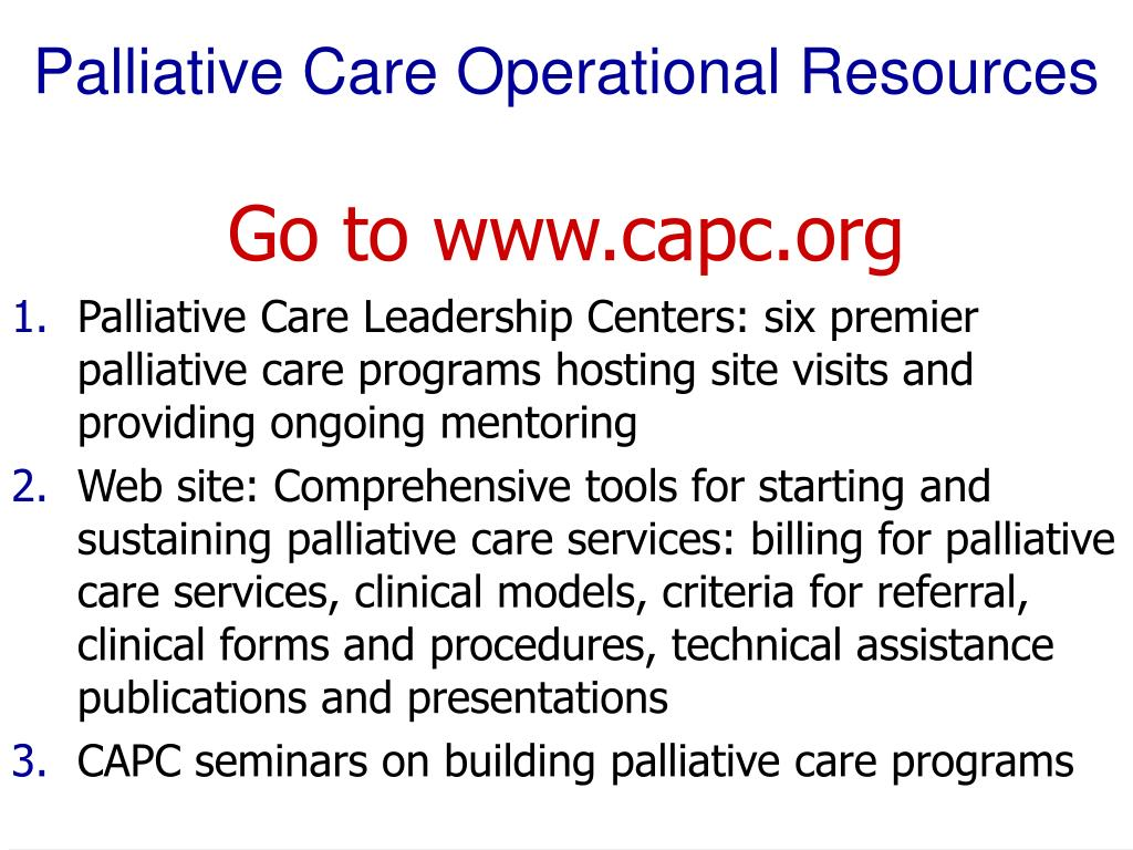 Palliative Care Operational Resources