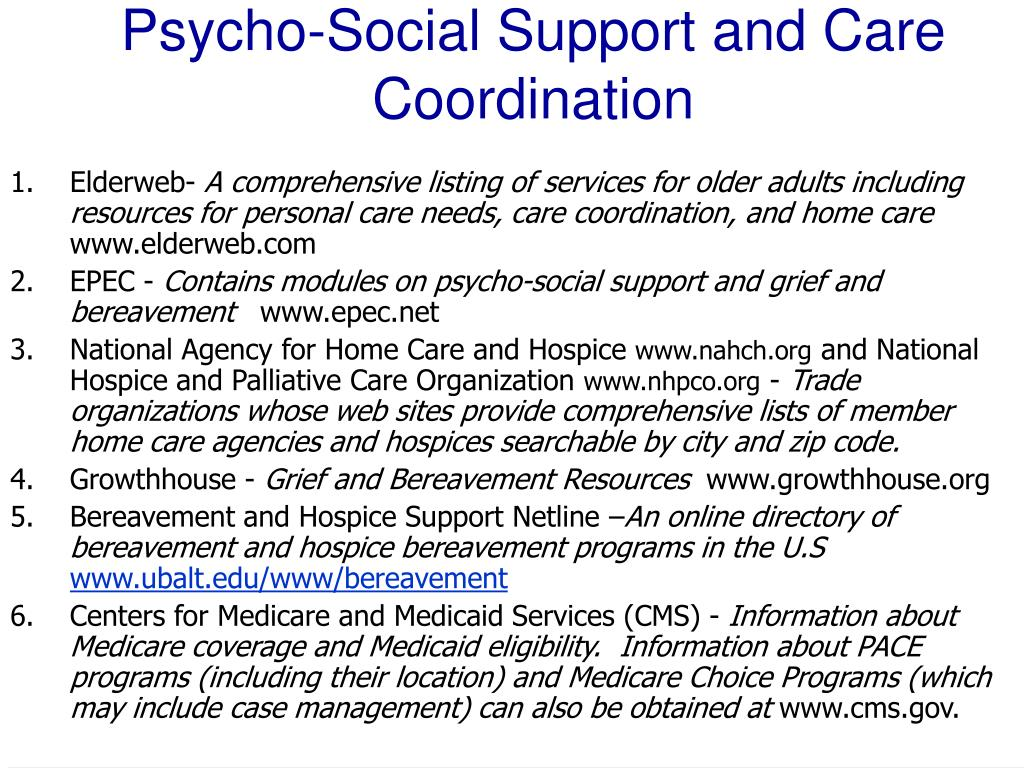 Psycho‑Social Support and Care Coordination
