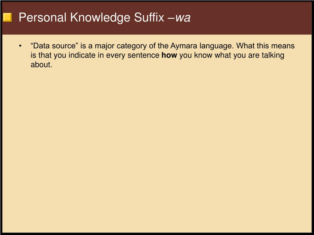 Personal Knowledge Suffix