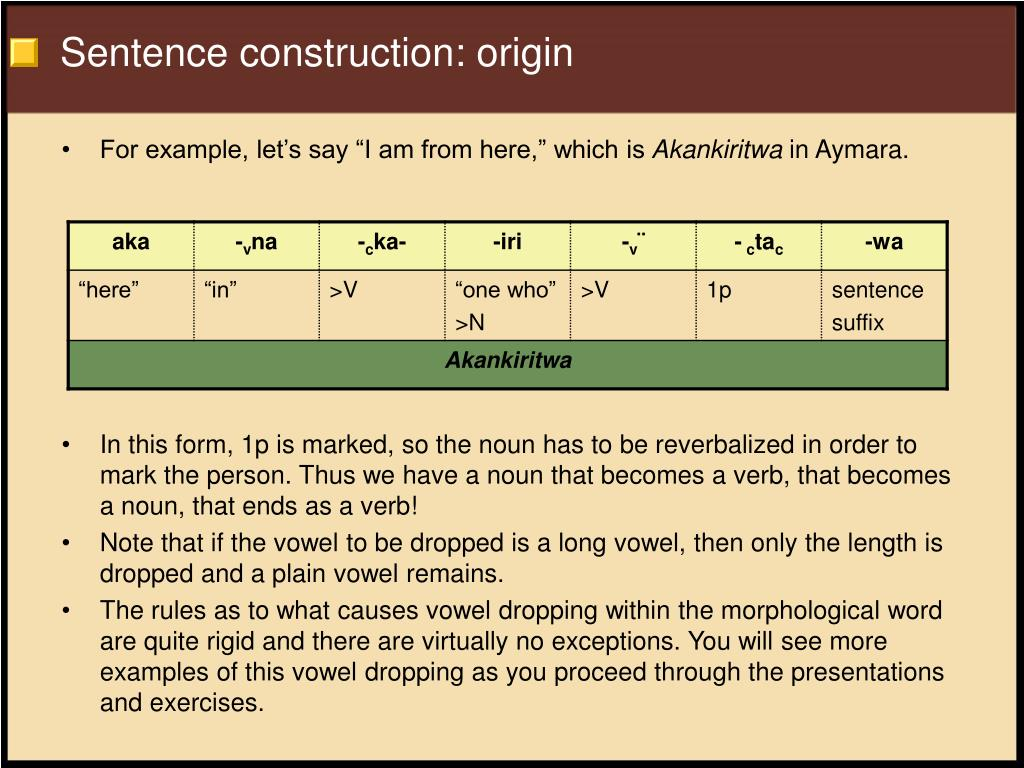 Sentence construction: origin