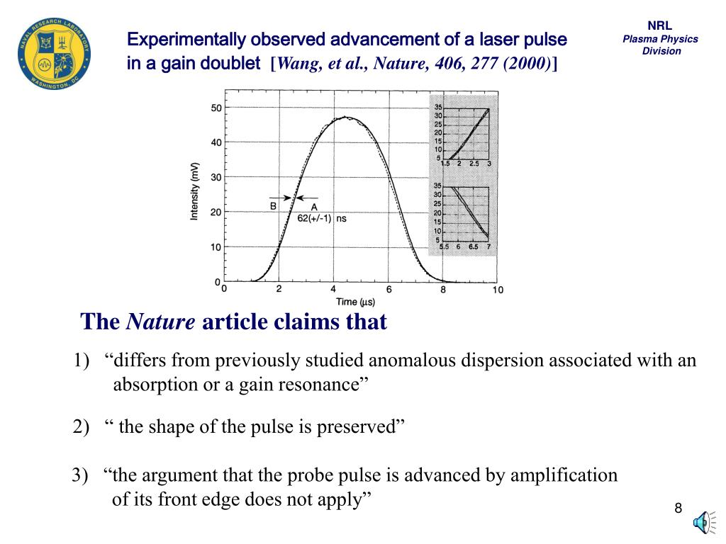 Experimentally observed advancement of a laser pulse