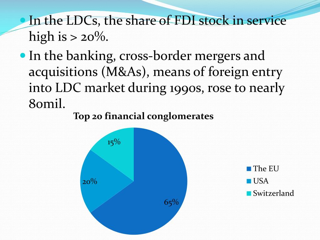 In the LDCs, the share of FDI stock in service high is > 20%.