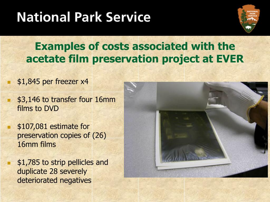 Examples of costs associated with the acetate film preservation project at EVER