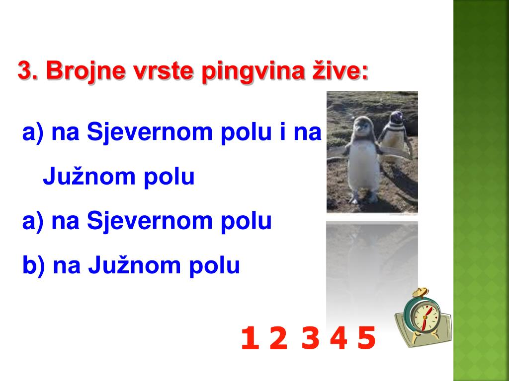 3. Brojne vrste pingvina žive: