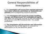 general responsibilities of investigators10