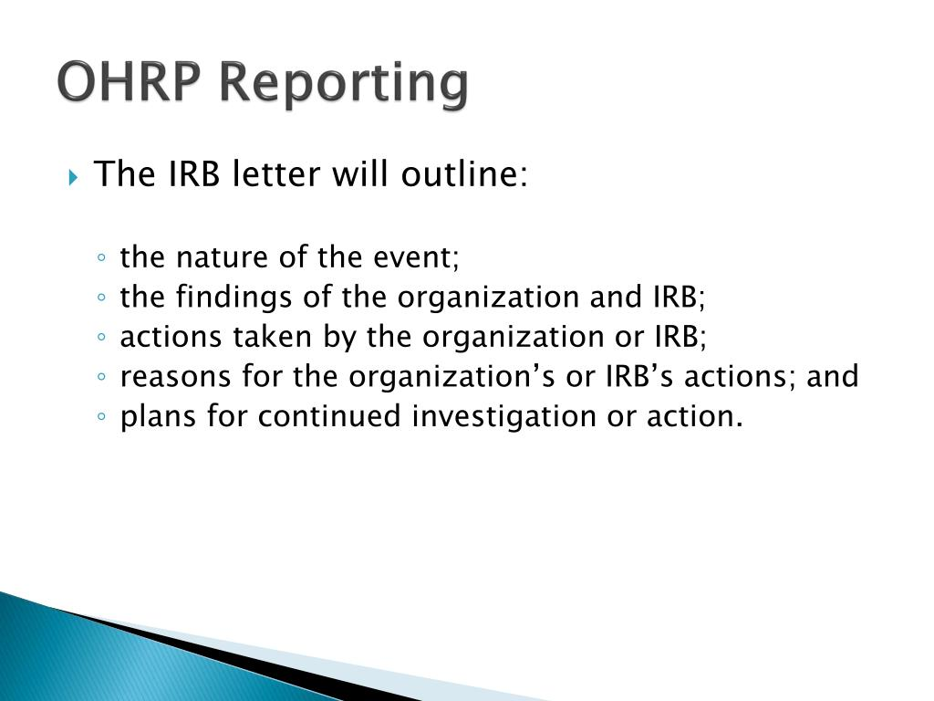 OHRP Reporting