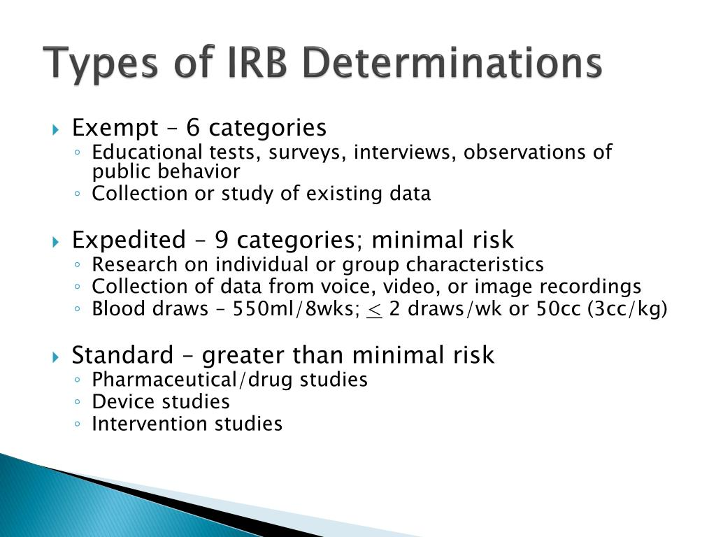 Types of IRB Determinations
