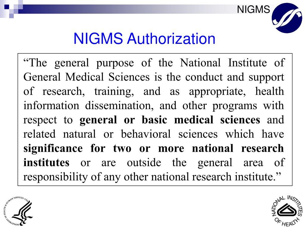 NIGMS Authorization