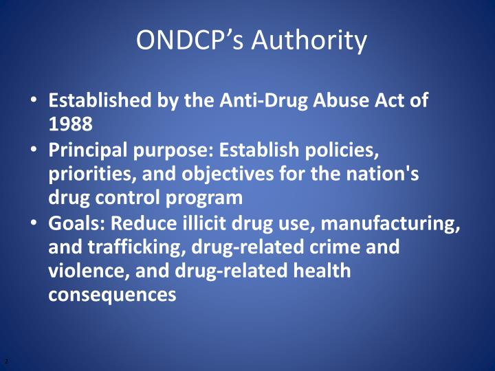 Ondcp s authority