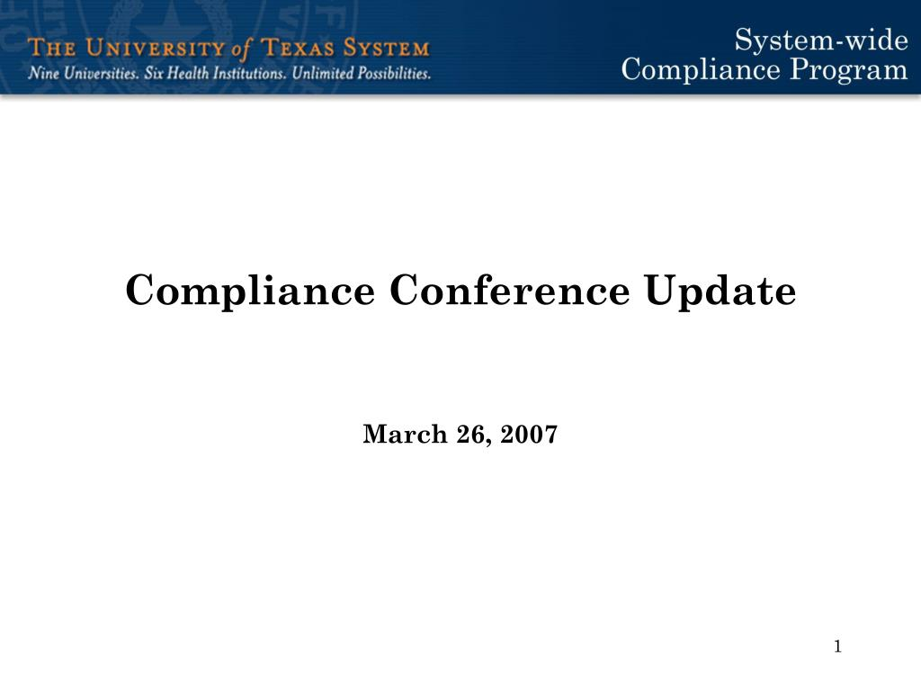 Compliance Conference Update