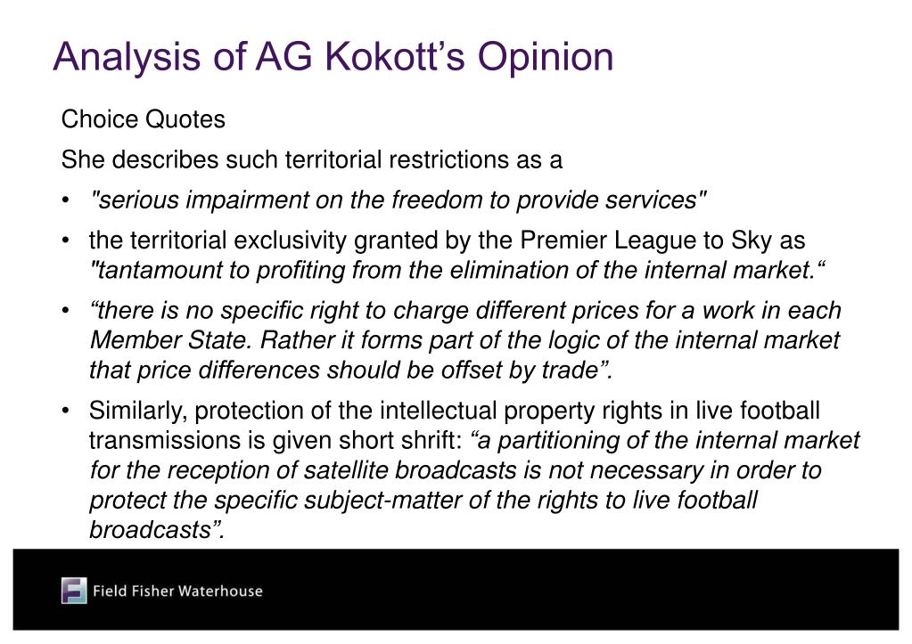 Analysis of AG Kokott's Opinion