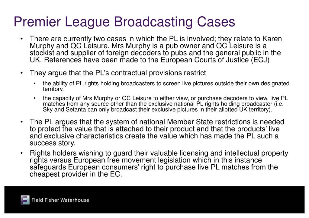 Premier League Broadcasting Cases