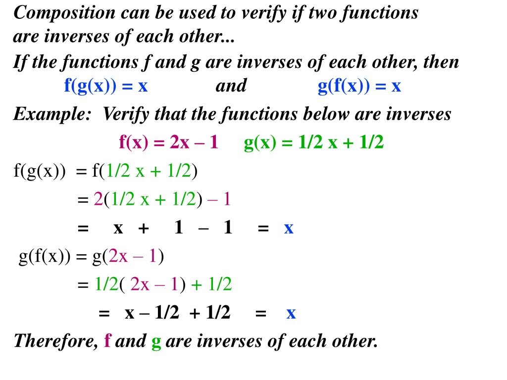 composition and inverse f x 2x 5 Section 61 |nverse functions 387 [5] how to find the inverse function of a one-to-one function f step 1 write y = f(x) step 2 solve this equation for x in 4] (see figure 12) thus f has an inverse fun - º ,4] ge [0, 2] wit puting a formula for (fº) an still calculate (f')(1) since f(1) = 1, we have f(1) = 1 also f(x) = 2x.