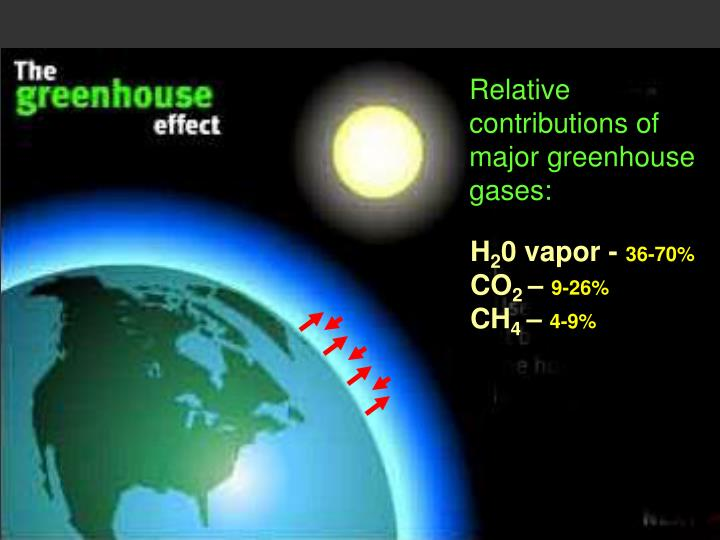 Relative contributions of major greenhouse gases: