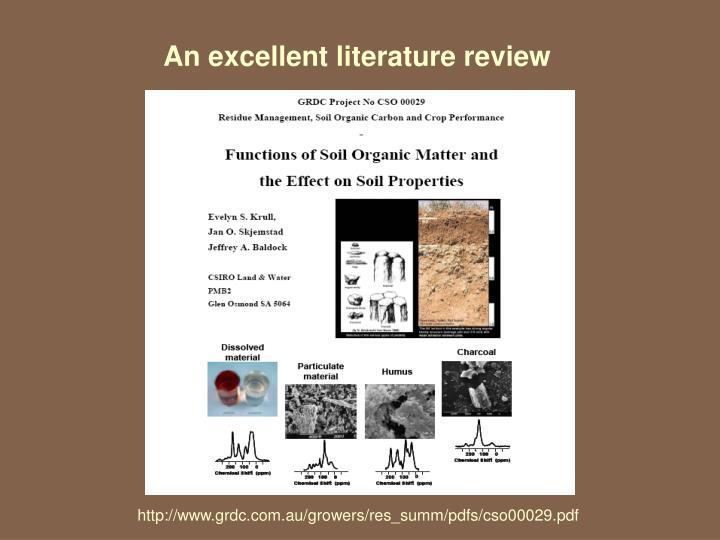 An excellent literature review