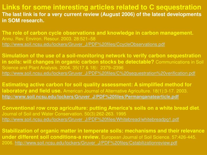 Links for some interesting articles related to C sequestration