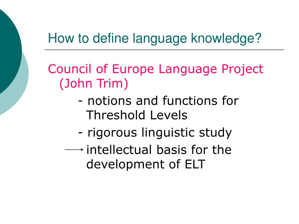 How to define language knowledge?