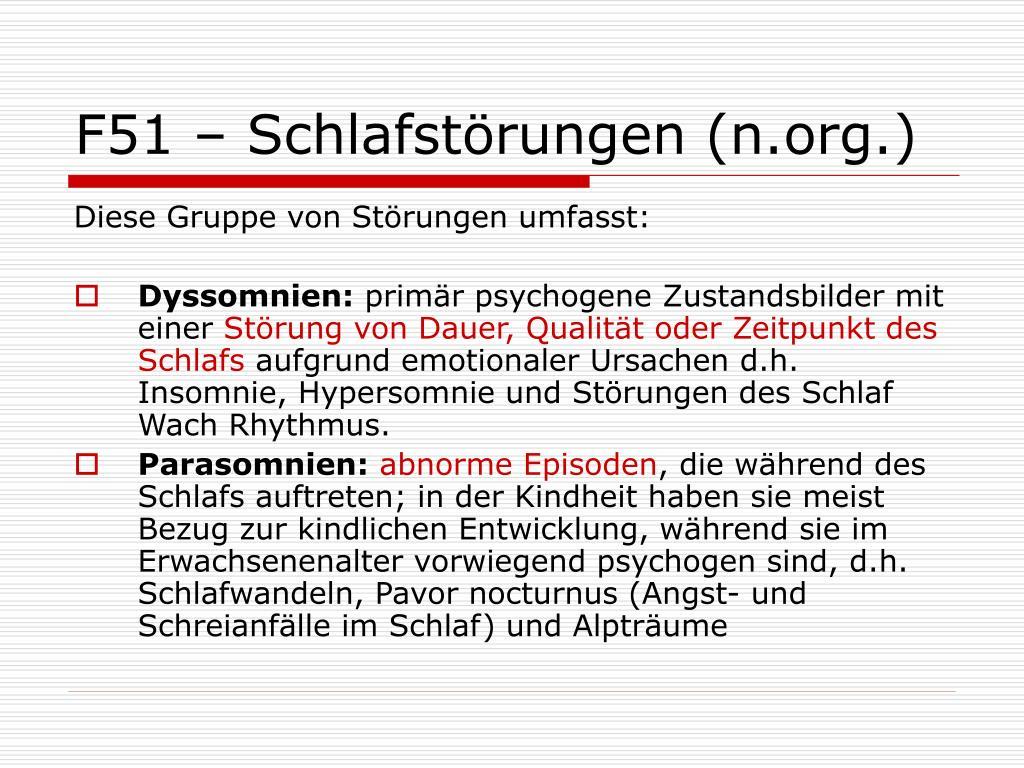 F51 – Schlafstörungen (n.org.)