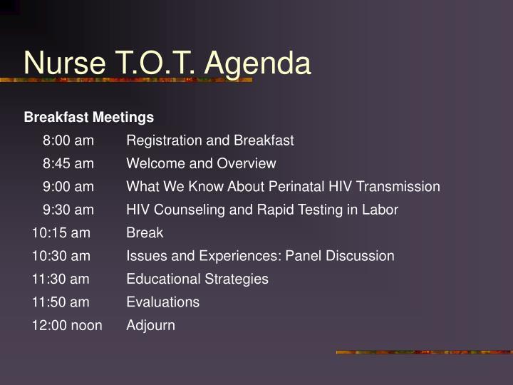 Nurse T.O.T. Agenda