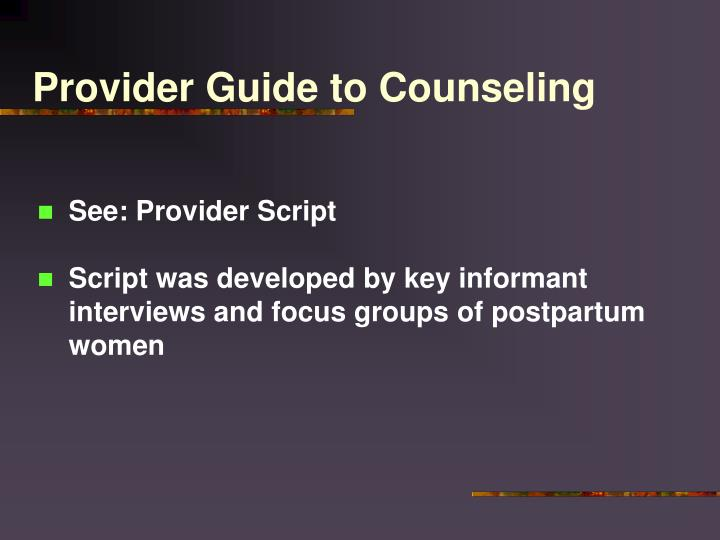 Provider Guide to Counseling