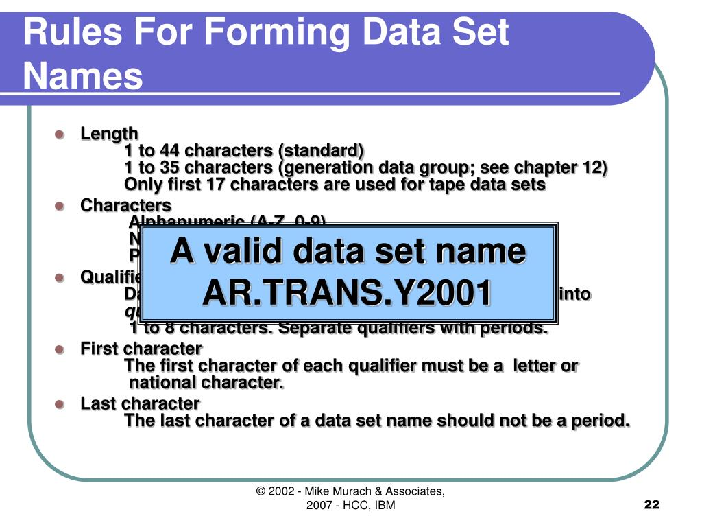 Rules For Forming Data Set Names