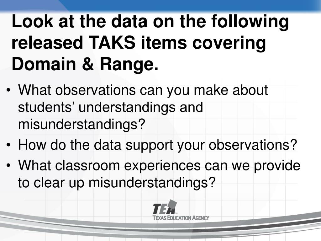 Look at the data on the following released TAKS items covering Domain & Range.