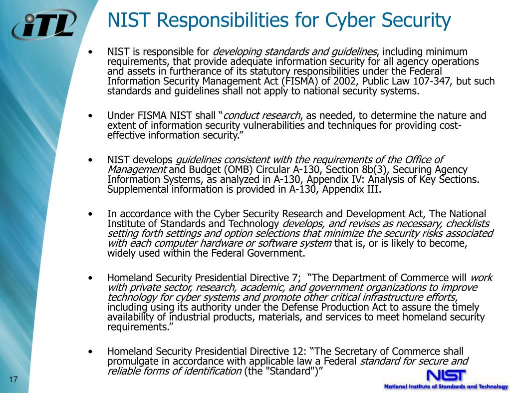 NIST Responsibilities for Cyber Security